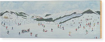 On The Slopes Wood Print by Judy Joel
