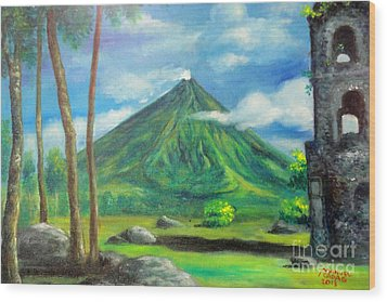 On The Spot Painting Of Mayon In Cagsawa Wood Print by Manuel Cadag