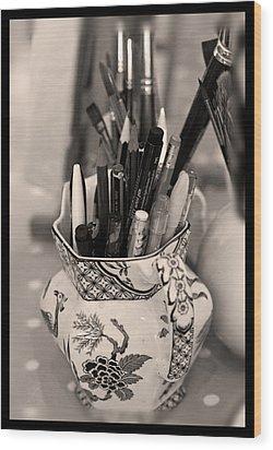 On The Studio Shelf Wood Print by Liz  Alderdice