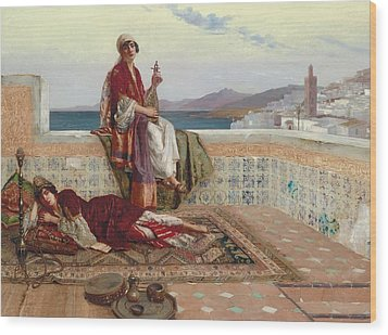 On The Terrace Tangiers Wood Print by Rudolphe Ernst