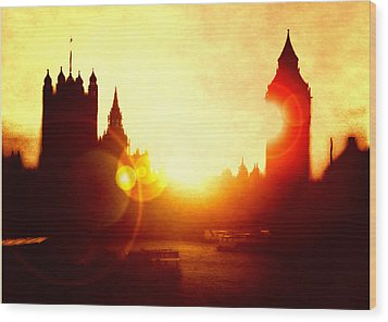 Wood Print featuring the digital art Big Ben On The Thames by Fine Art By Andrew David