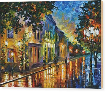 On The Way To Morning Wood Print by Leonid Afremov