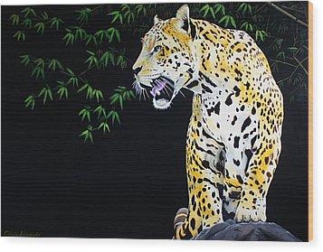 Onca And Bamboo Wood Print by Chikako Hashimoto Lichnowsky