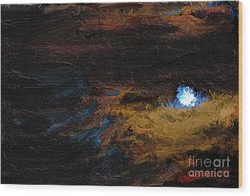 Once In A Blue Moon Wood Print by Nancy TeWinkel Lauren