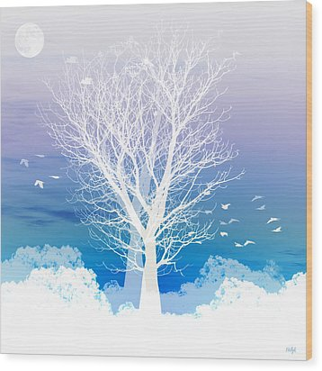 Once Upon A Moon Lit Night... Wood Print