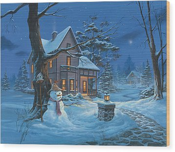 Once Upon A Winter's Night Wood Print by Michael Humphries