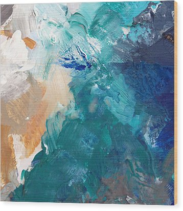 On A Summer Breeze- Contemporary Abstract Art Wood Print by Linda Woods