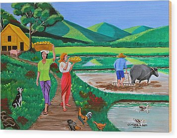 Wood Print featuring the painting One Beautiful Morning In The Farm by Cyril Maza