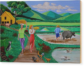 Wood Print featuring the painting One Beautiful Morning In The Farm by Lorna Maza