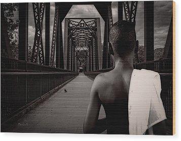 One Boy One Pigeon One Bridge Wood Print by Bob Orsillo