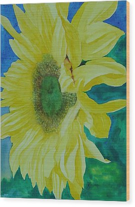 One Bright Sunflower Colorful Original Art Floral Flowers Artist K. Joann Russell Decor Art  Wood Print