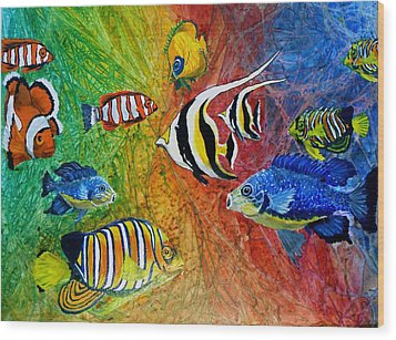 One Fish Two Fish Wood Print by Liz Borkhuis