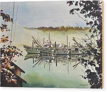 Gig Harbor Foggy Morning View Wood Print