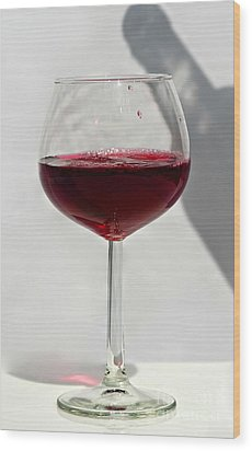 One Glass Of Red Wine With Bottle Shadow Art Prints Wood Print by Valerie Garner