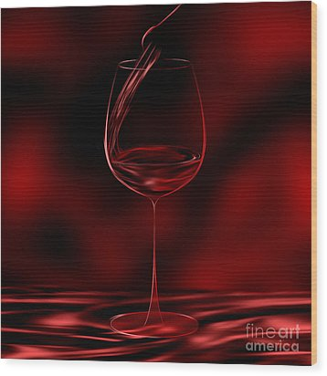 One Glass Red Wood Print