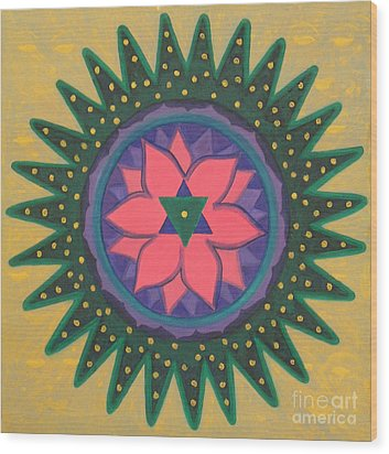 Wood Print featuring the painting One Gold Bindu by Mini Arora