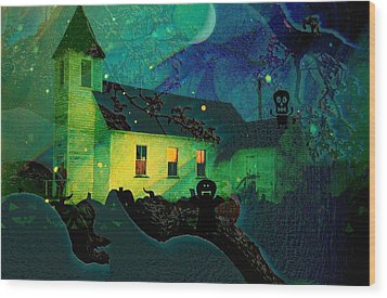 One Hallowed Evening Wood Print by Shirley Sirois