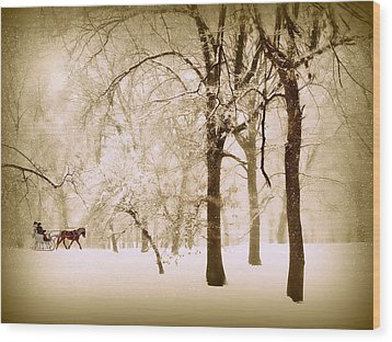 One Horse Open Sleigh Wood Print