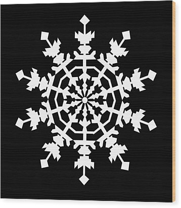 One Ice Crystal Inspired By An Ice Crystal Seen In An Electron Microscope Wood Print by Asbjorn Lonvig