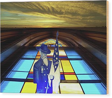 One Last Battle Union Soldier Stained Glass Window Digital Art Wood Print by Thomas Woolworth