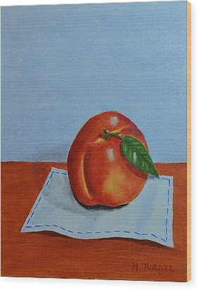 Wood Print featuring the painting One Leaf Peach by Melvin Turner