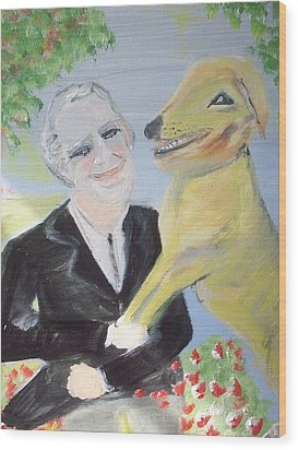 One Man And His Dog Wood Print by Judith Desrosiers
