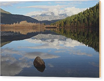One Mile Lake One Rock Reflection Pemberton B.c Canada Wood Print by Pierre Leclerc Photography