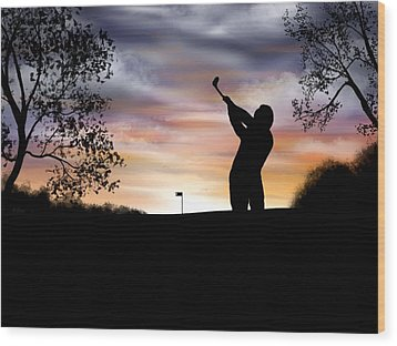 One More Hole - A Late Round Of Golf Wood Print by Ron Grafe
