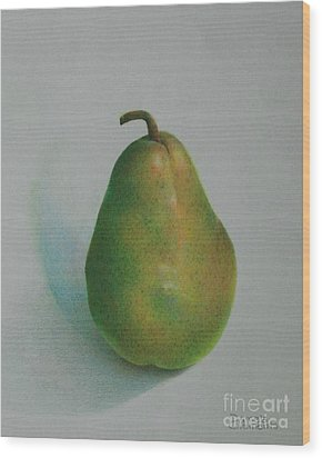One Of A Pear Wood Print by Pamela Clements