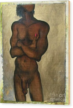 Wood Print featuring the painting One Of The Three Wise Men - Male Nude by Carolyn Weltman