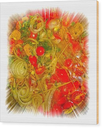 One Pan Pasta Cooking Wood Print by Constantine Gregory