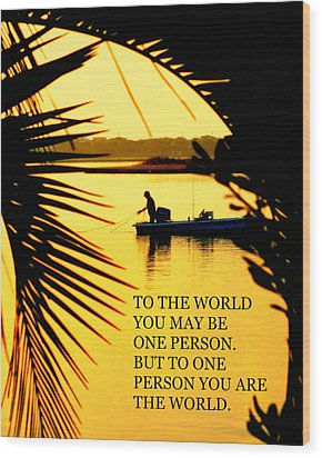 One Person Wood Print by Karen Wiles