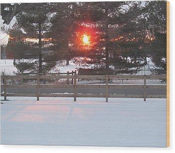 One Rare Winter Sunset Wood Print