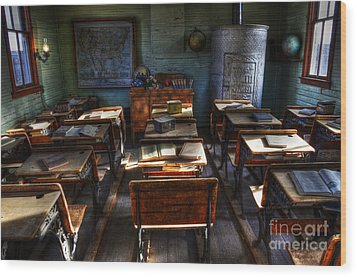 One Room School House Wood Print by Bob Christopher
