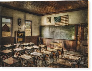 One Room School Wood Print by Lois Bryan