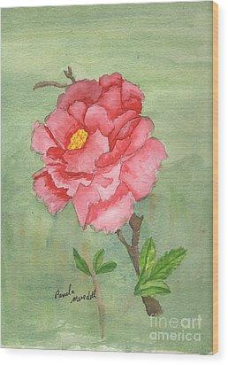 One Rose Wood Print by Pamela  Meredith