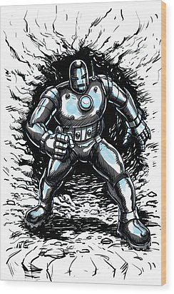 One Small Step For Iron Man Wood Print by John Ashton Golden