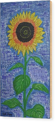 One Sunny Stalk Wood Print by Kat Poon