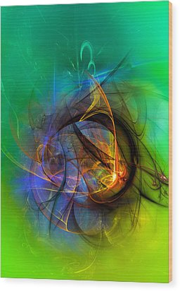 Colorful Digital Abstract Art - One Warm Feeling Wood Print by Modern Art Prints