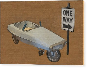 One Way Pedal Car Wood Print by Michelle Calkins