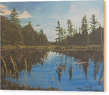 Wood Print featuring the painting O'neal Lake by Wendy Shoults