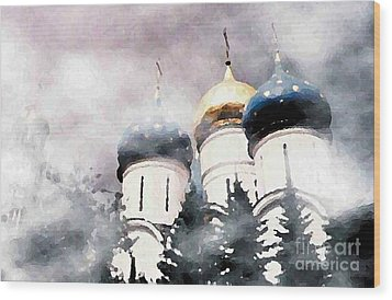 Onion Domes In The Mist Wood Print by Sarah Loft