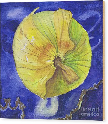 Wood Print featuring the painting Onion On Blue Tile by Susan Herbst