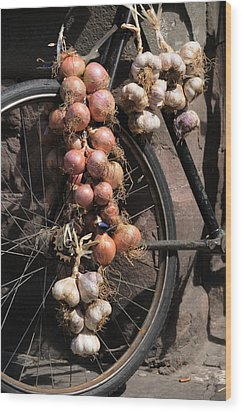 Onions And Garlic On Bike  Wood Print
