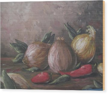 Wood Print featuring the painting Onions And Peppers by Megan Walsh