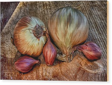 Wood Print featuring the painting Onions And Scallions by Sharon Beth