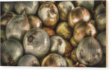 Onions Wood Print by David Morefield