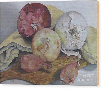 Onions Wood Print by Karen Olson
