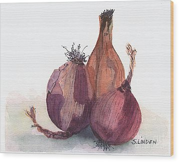 Onions Wood Print by Sandy Linden
