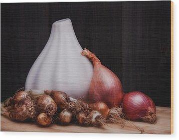 Onions Wood Print by Tom Mc Nemar